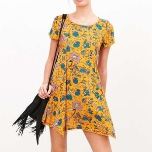 Urban Outfitters|Mustard Floral Trapeze SwingDress